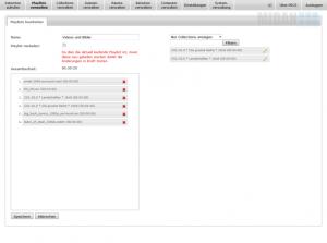 Der Screenshot einer zu bearbeitenden PECS Playlist, bestehend aus Collections und Dateien - von der MIDAN SOFTWARE GmbH.